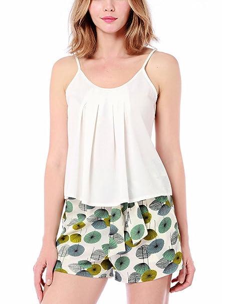 Mujer Camiseta Tirantes Floral Impreso Blusa Escote Sin Manga Cuello O Camisola Espalda Descubierta Elegante Top