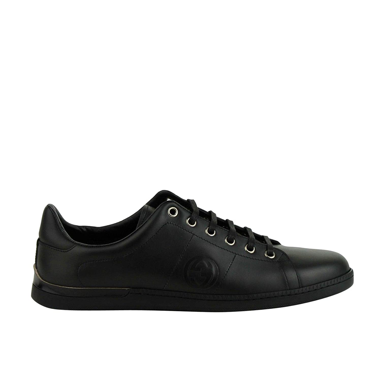 1fb07632e45 Amazon.com  Gucci Women s Black Leather Sneaker with Interlocking G Emblem  329841 1000  Shoes