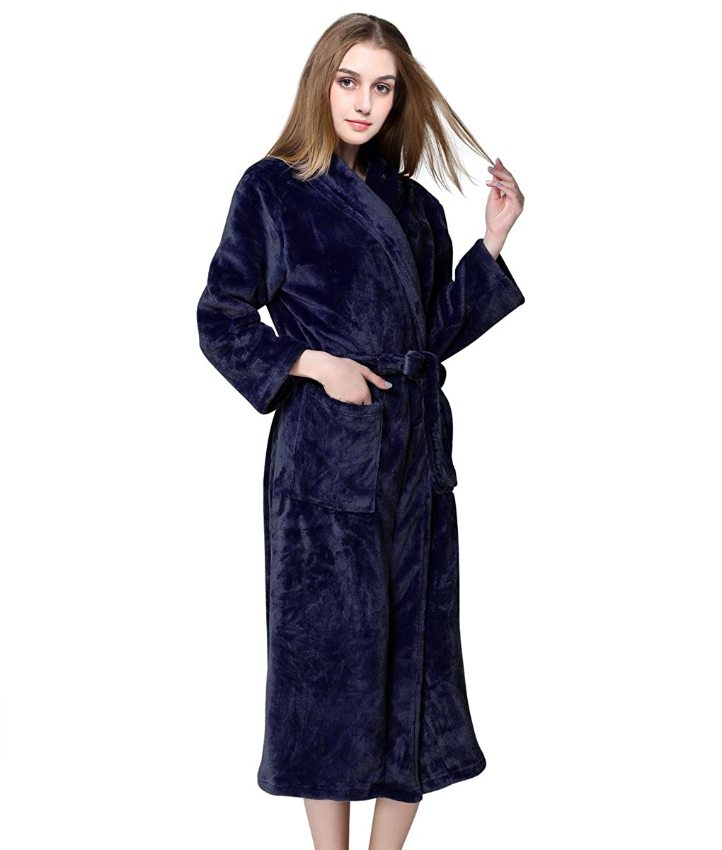 61425089b4 Unisex Soft Plush Fleece Robe with Pockets Long Shawl Collar Bath Robe Warm  Bathrobes for Women and Men at Amazon Women s Clothing store
