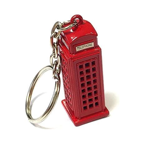 Londres regalos / recuerdos Metal troquelado Llavero - 3D Box Teléfono Rojo