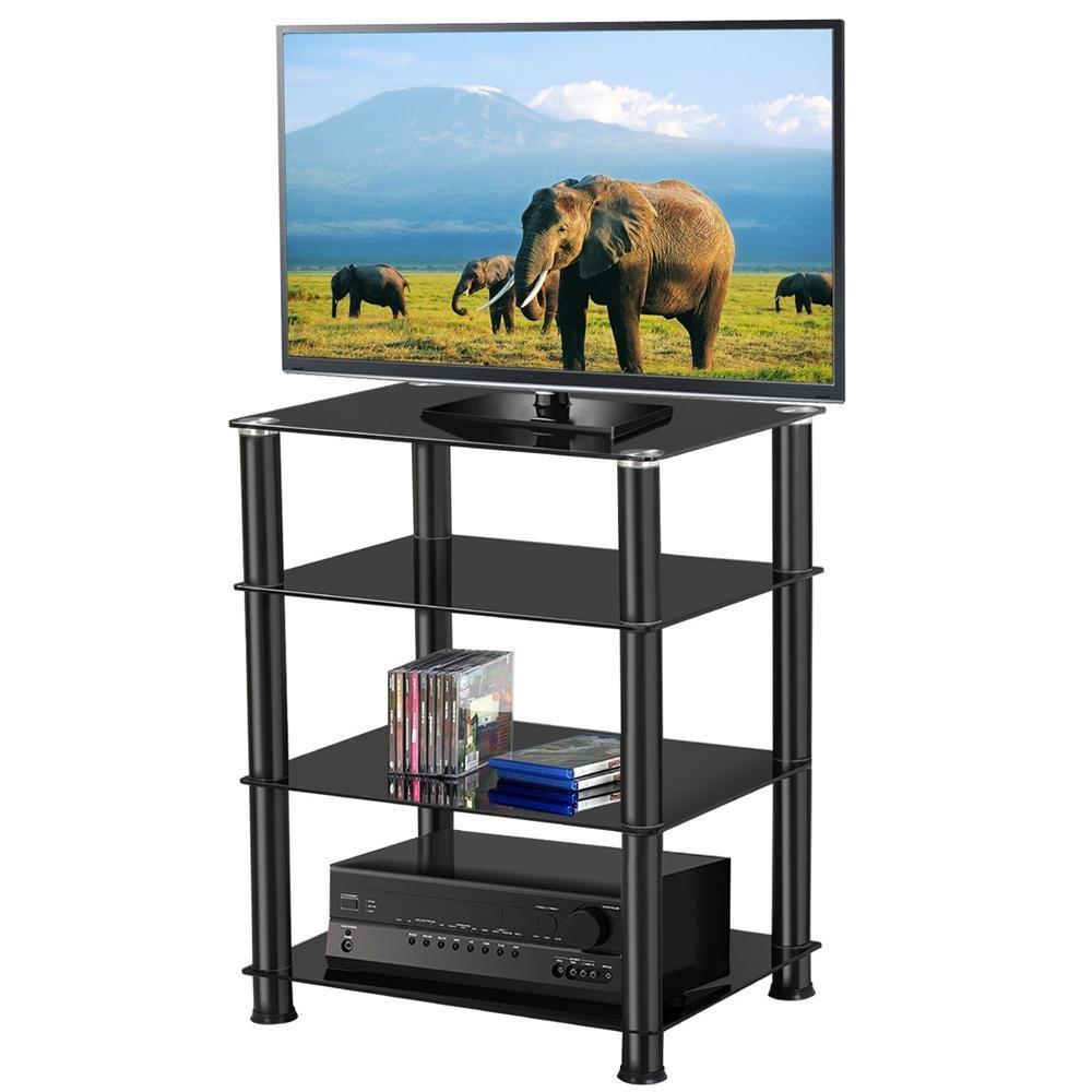 Topeakmart 4-Tier Glass Media Component Stand Audio Rack in Black