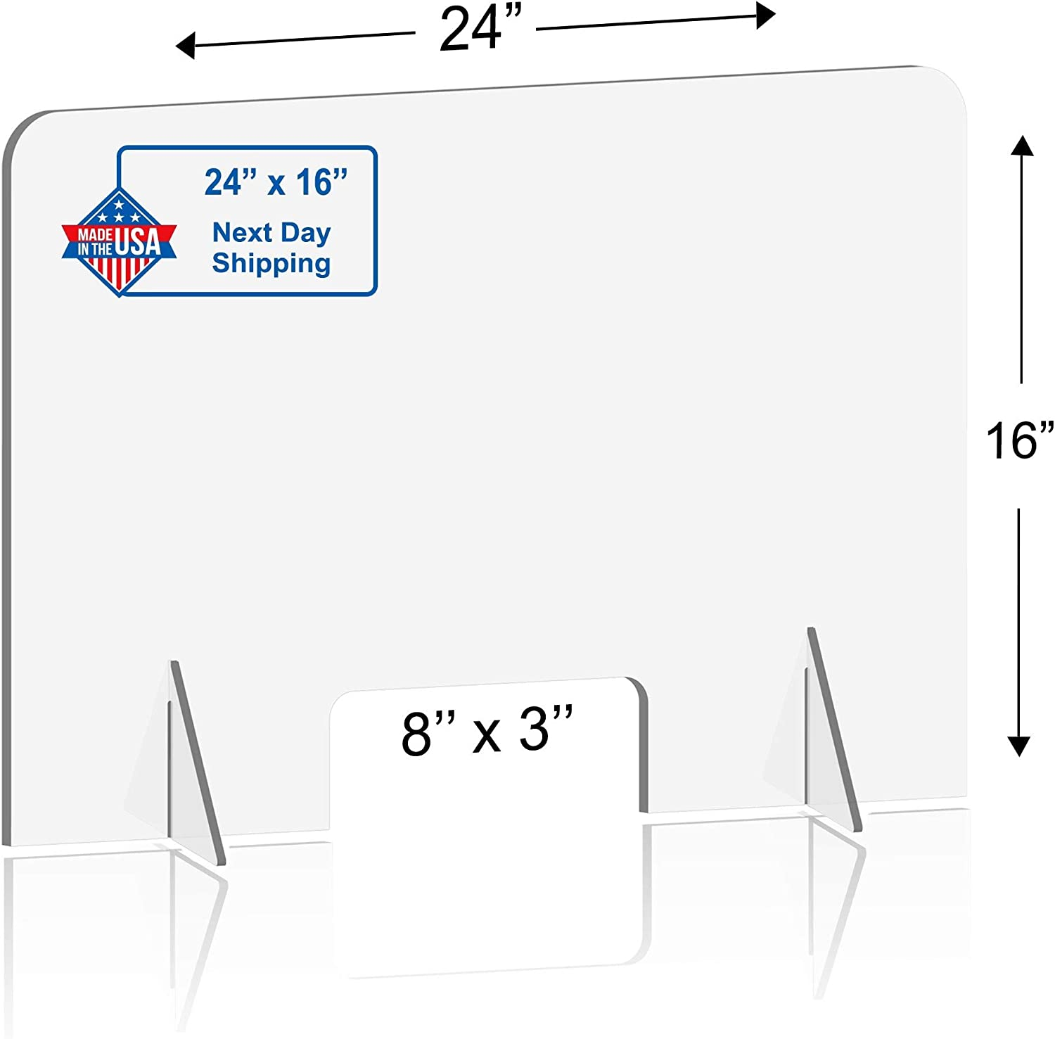 Clear Acrylic Shield Counter and Table Same-Day Shipping Sneeze Guard Panel for Desk 16W x 30H