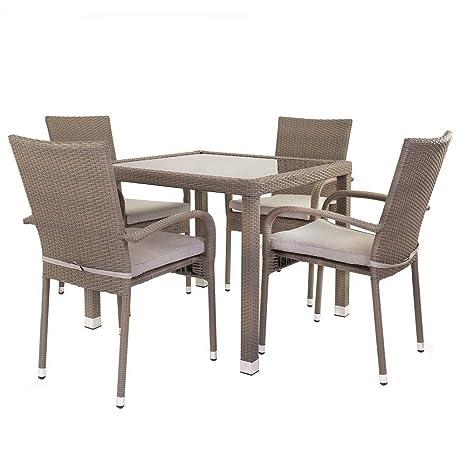 Conjunto de Mesa y sillas para terraza marrón de rattán plástico Garden - LOLAhome