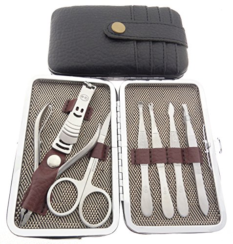 Okbool 7pcs Card Pack Stainless Steel Manicure Pedicure Set ,Travel & Grooming Set, Personal Care Tools, Nail Scissors Nail Clippers Kit with Leather Case (Black)