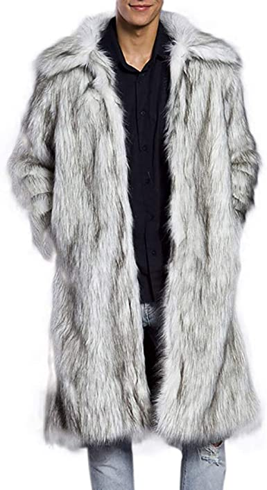 MOUTEN Mens Winter Open Front Outerwear Thicken Faux Fur Long Cardigan Coat Overcoat