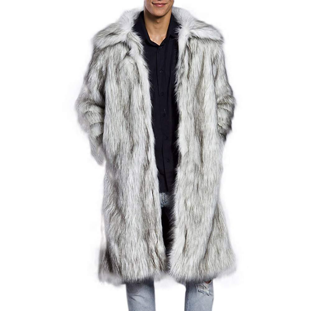 Amazon.com: Fiaya Fashion Mens Luxury Winter Warm Thick Overcoat Long Coat Jacket Faux Fur Parka Outwear Cardigan (XXXL, White): Electronics
