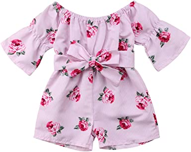 Summer Toddler Kids Baby Girls Fruit Print Rompers Jumpsuits Playsuit Trousers