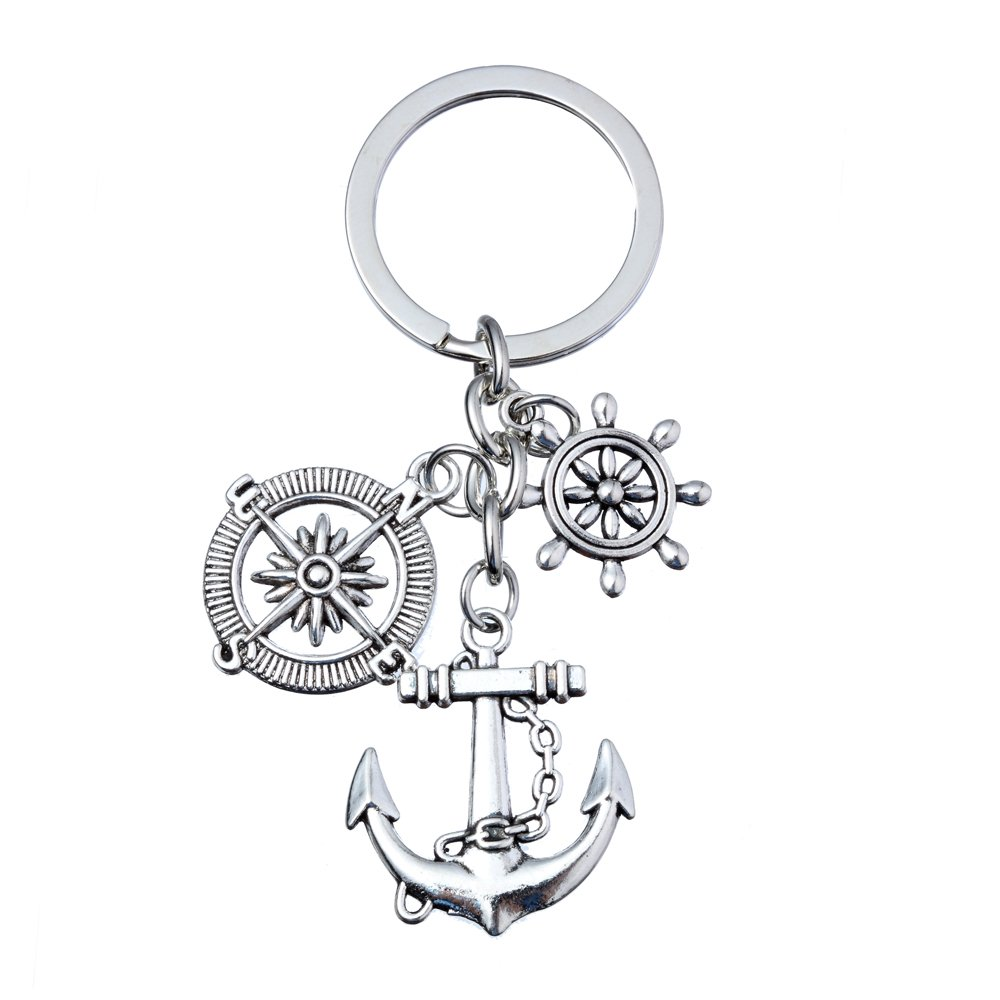 Compass Anchor Rudder Key Chain Ring for Dad Gift for Captain Sailors Father Day lauhonmin