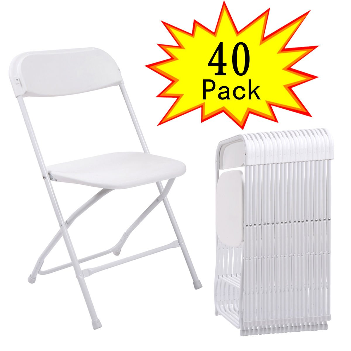 JAXPETY 40PCS Plastic Folding Chairs Wedding Party Event Chair Commercial White
