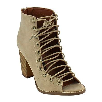 12af8b5bbb5 BESTON Yoki Brie Women's Lace Up Stacked Heel Peep Toe Ankle Booties  Sandals,Beige,5