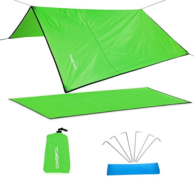 TOMSHOO Waterproof Tent Tarp Rain Fly Hammock Tarp Cover Canopy Picnic Mat Blanket, Mutil-Functional Tent Shelter for Outdoor Travel Picnic, Hiking, Stakes