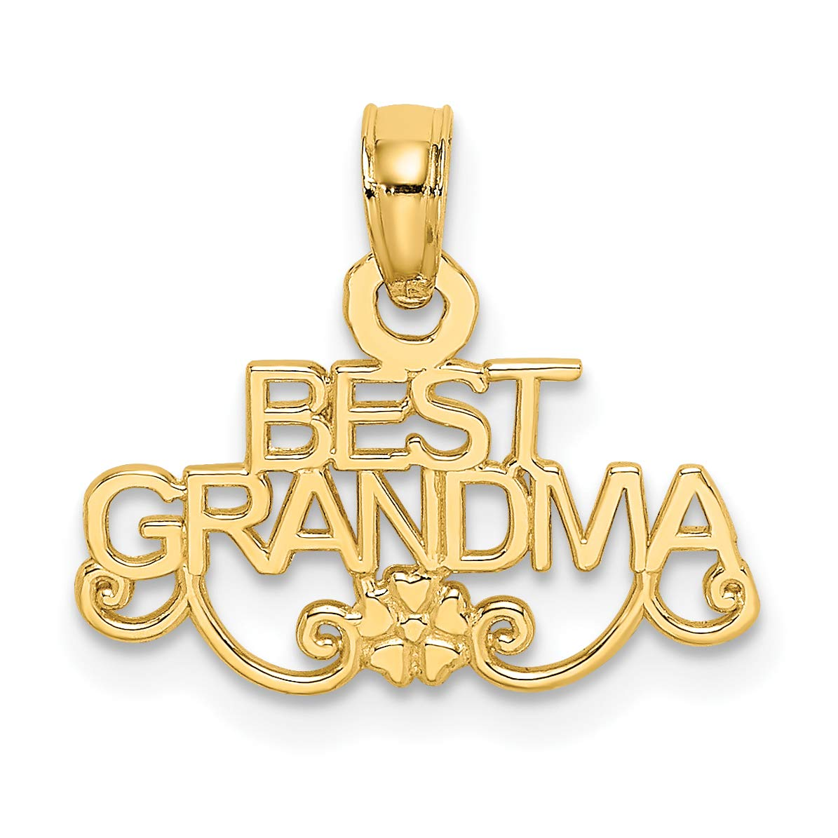 14k Yellow Gold Best Grandma Words And Flower Pendant 8x16mm