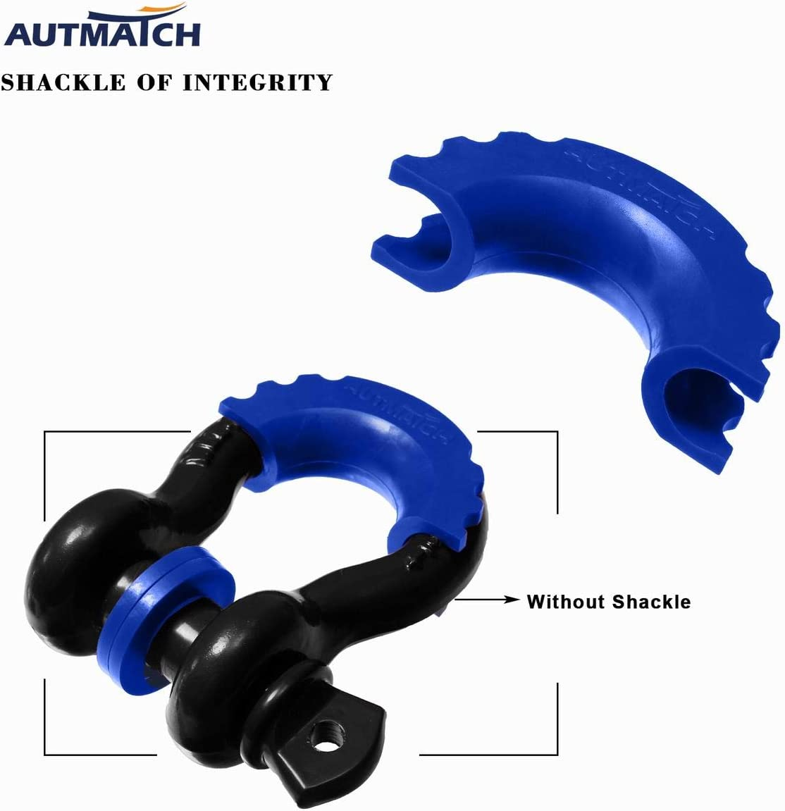 Autmatch Pack of 2 D-Ring Shackle Isolators Washers Kit 2 Rubber Shackle Isolators and 8 Washers Fits 3//4 Inch Shackle Gear Design Rattling Protection Shackle Cover Blue