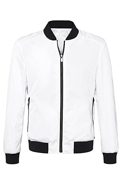 61d0cb032 Hugo Boss Red Men's Reversible Baxtent Bomber Jacket (Small, White ...