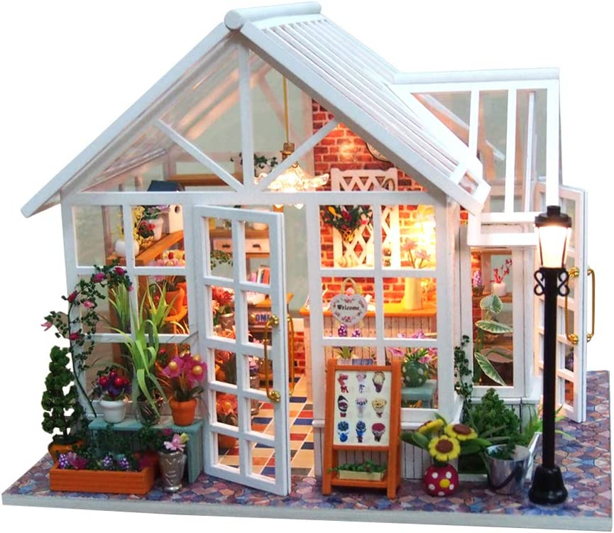 DIY Dollhouse Miniature Kit Wooden Creative Room with Furniture Flower Store Mini Doll House Building Kit Led Light Dust Cover Music Box 1:24 Scale House Kit for Adults Girls Birthday Gift Toy