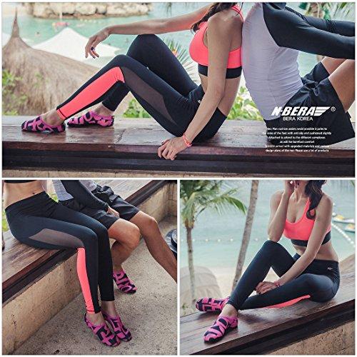 JustOneStyle NBERA Barfuß Flexible Wasserhaut Schuhe Aqua Socken für Beach Swim Surf Yoga Übung Ltr_pink