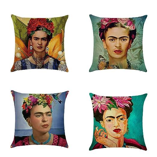 Ozar Fundas de cojín de Lino autorretrato Frida Kahlo para sofá, Coche, decoración del hogar, 18 x 18 Pulgadas, B, 18