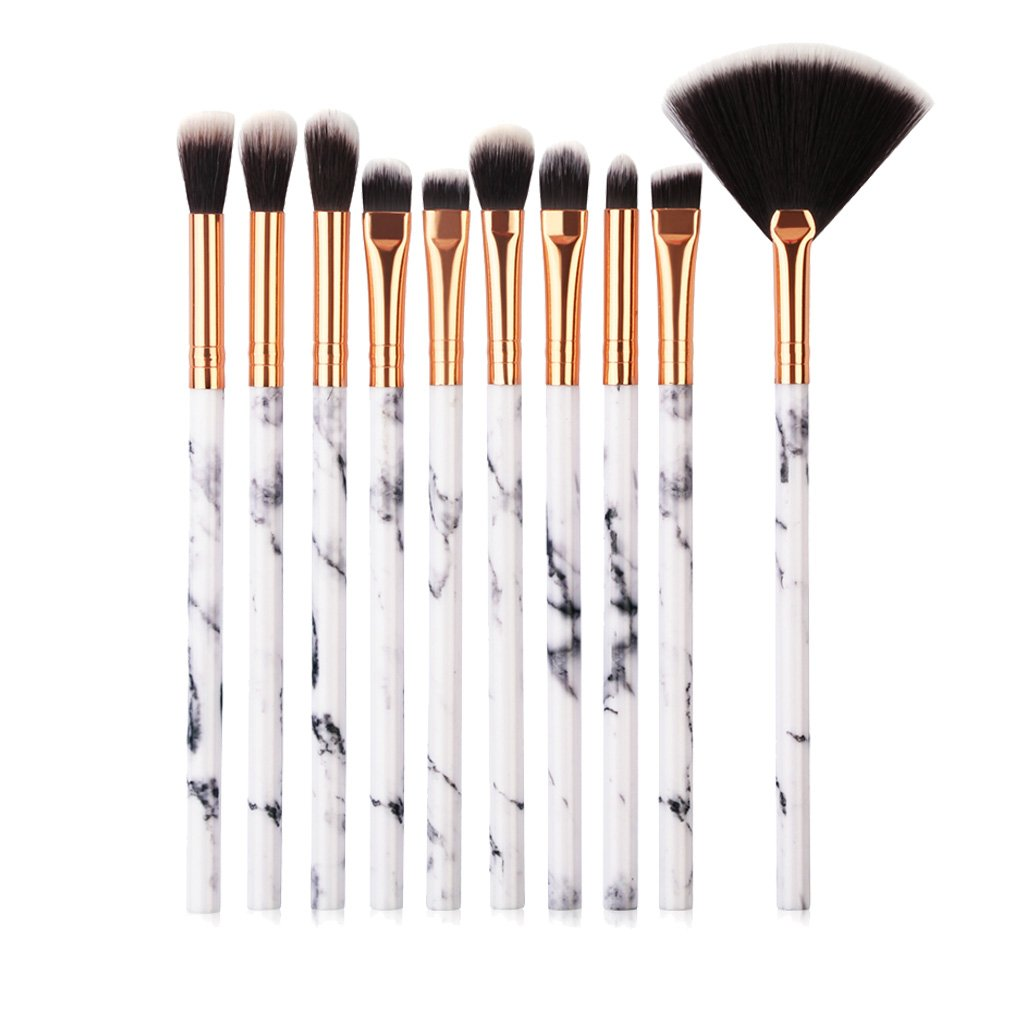 Tenmon 10Pcs Marble Eye Makeup Brush Set, Professional Marble Makeup Brushes of Eyeshadow Brush, Eyebrow Brush, Fan Brush, Eyeliner Brush, Blending Brush Make Up Brush Set Kits