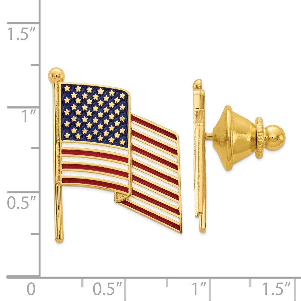 14K Yellow Gold Enameled American Flag Tie Tac by Accessory Tie Bar (Image #3)