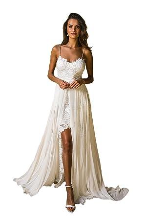 NUOJIA Sexy Rückenfrei Standesamt Spitze Hochzeitskleid mit ...