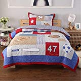 Single Patchwork Quilt Bedspread Children Boys Bed Cover 2 Pieces 100% Cotton  Rugby Bedspread Quilted Coverlet Sets1 Bedspread 1 Pillowcase(180x220cm)