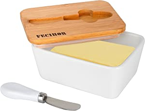 Fecihor Ceramic Butter Dish with Bamboo Lid, 800 ml Butter Keeper Container with Butter Knife Food Storage Candy Box Baking Dish, White