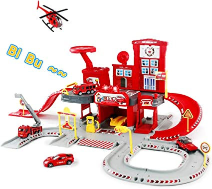 FunLittleToys Gas Station Toy Parking Garage Toy Playset with 2 Pull Back Die Cast Cars for Boys