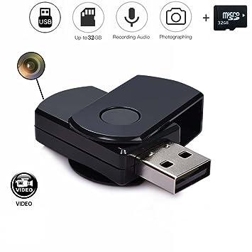 codomoxo® Llavero Llave USB con Mini cámara espía HD DETECCIÓN DE MOVIMIENTO infrarrojo llave USB retráctil MICRO Video Grabadora con sonido
