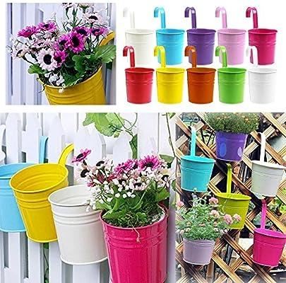 Interestiny - Macetas metálicas de color brillante para colgar en balcón, jardín, valla, pared, decoración del hogar : Amazon.es: Jardín