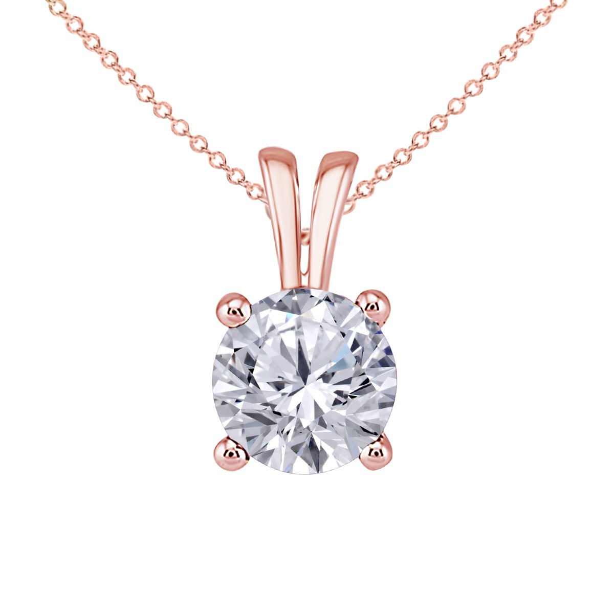 16+2 Ext. Hot Classic Look 1.00 Ct Round Cut Clear Cubic Zirconia CZ Solitaire Pendant Necklace for Women 18 with 14K Rose Gold Over