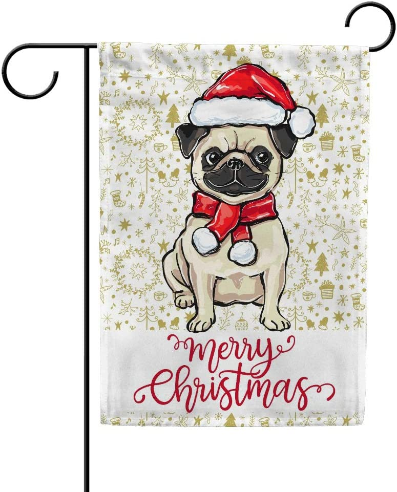 My Daily Merry Christmas Santa Hat Pug Dog Garden Flag, Decorative Double Sided Yard Flag 12 x 18 inch