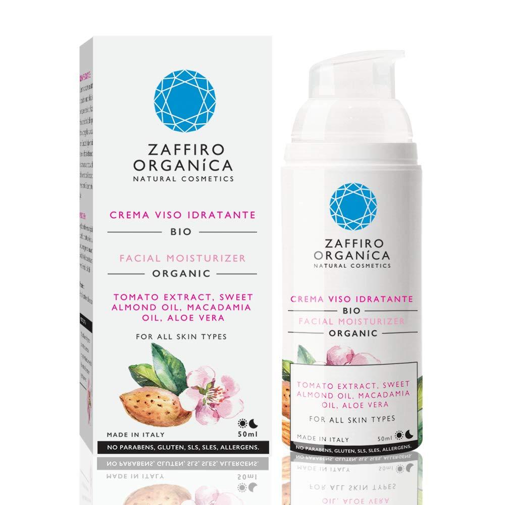 Zaffiro Organica Naturkosmetik - Feuchtigkeitscreme mit Tomatenextrakt und Macadamia-Nuss Öl - Intensive Pflege mit Anti-Age Effekt für sensible und trockene Haut – Beruhigende Wirkung – Anti-Rötungen - Für Männer & Frauen - Vegan & Bio-Kosmetik -