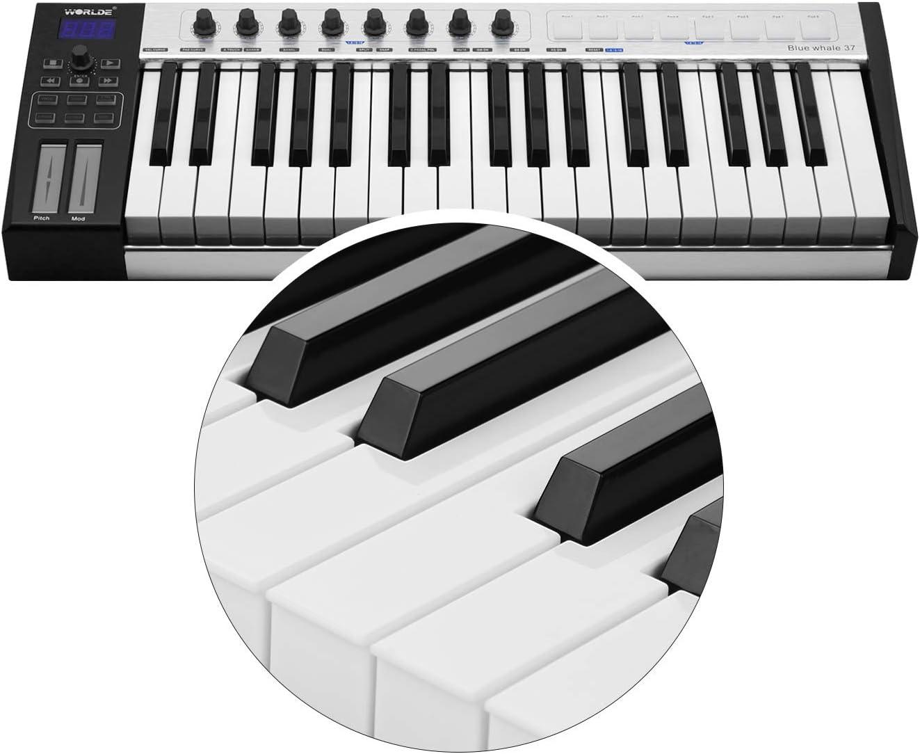 Teclado controlador MIDI portátil con 37 teclas semi pesadas ...