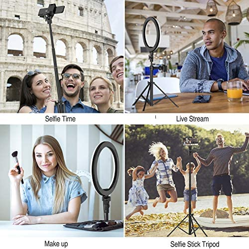 "8"" LED Selfie Ring Light for Live Stream/Makeup/YouTube Video, Dimmable Beauty Ringlight with Tripod Stand and Phone Holder Compatible with Smartphones"