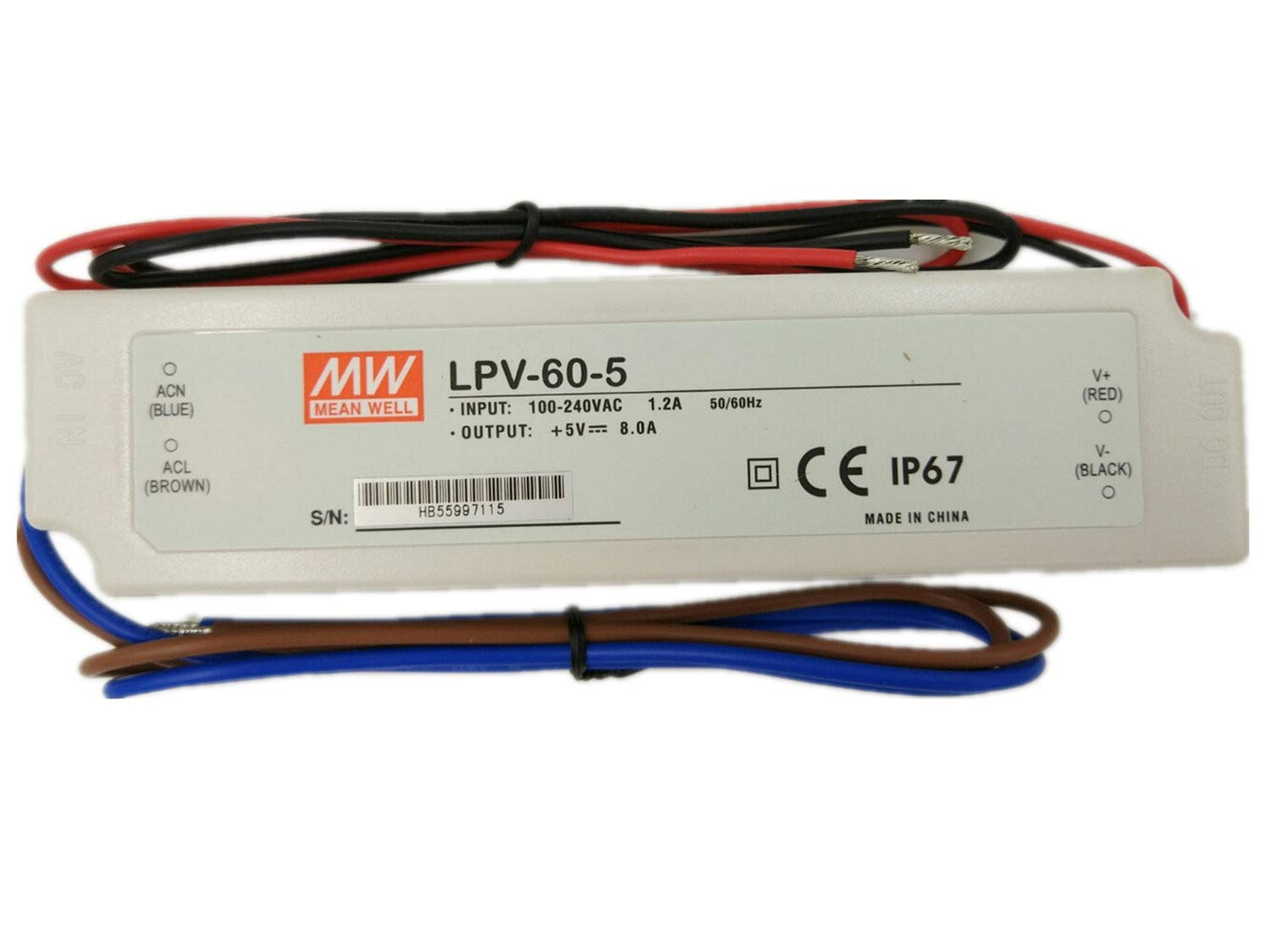 AC to DC LED Driver Enclosed Power Supply Single Output 12 Volts 5 Amps 60 Watts