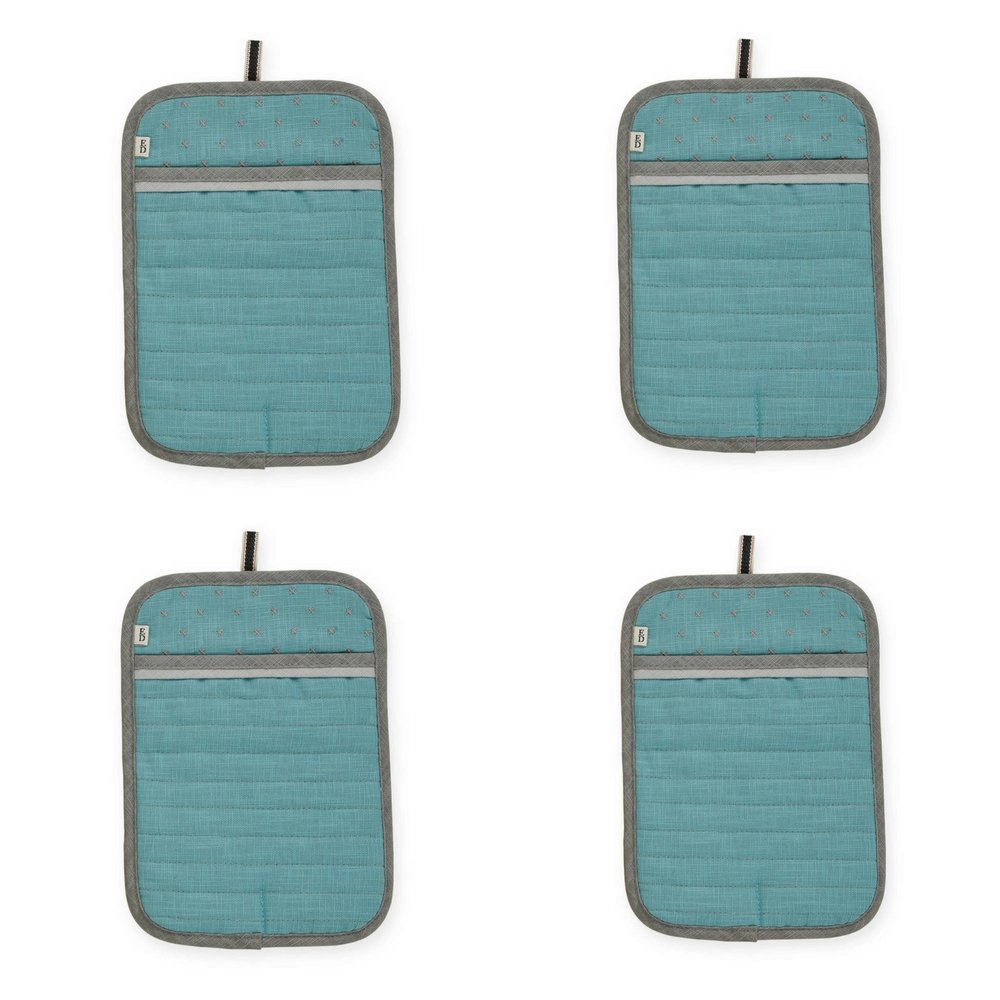 ED Ellen DeGeneres Quilted Pot Holder | 100% cotton (AQUA) 4-Pack
