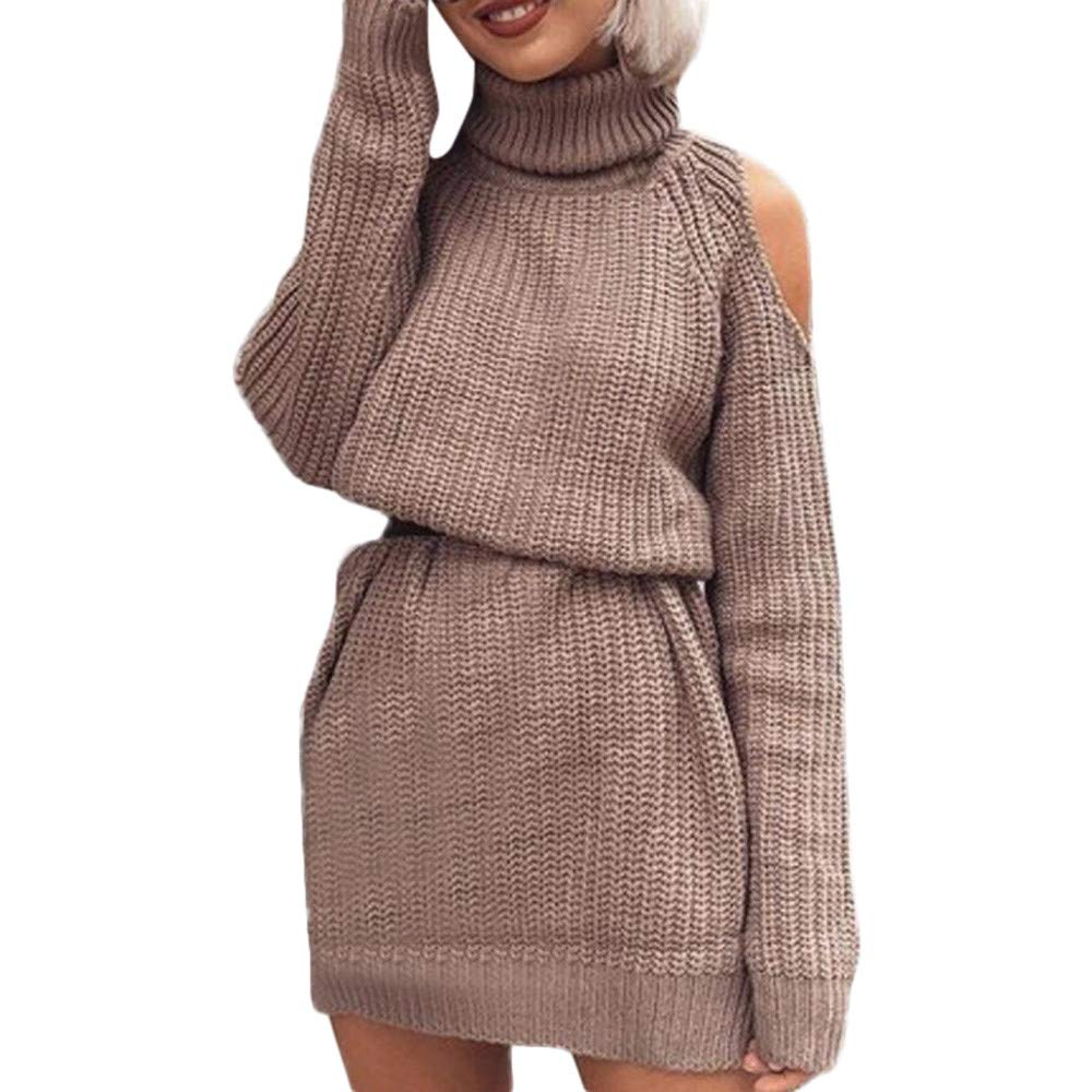 Zalanala Women High Collar Strapless Sweater Skirt Waist Knitted Winter Pullover