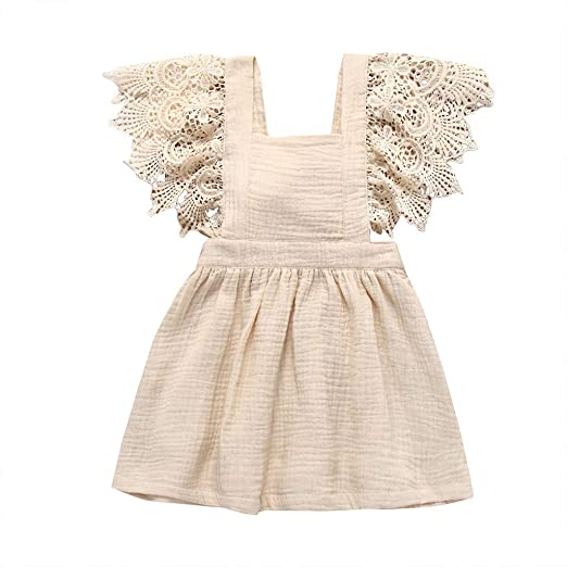 3a242e7e67133 Amazon.com: chenJBO🌟2019 Infant Kid Baby Girl Sleeveless Lace ...
