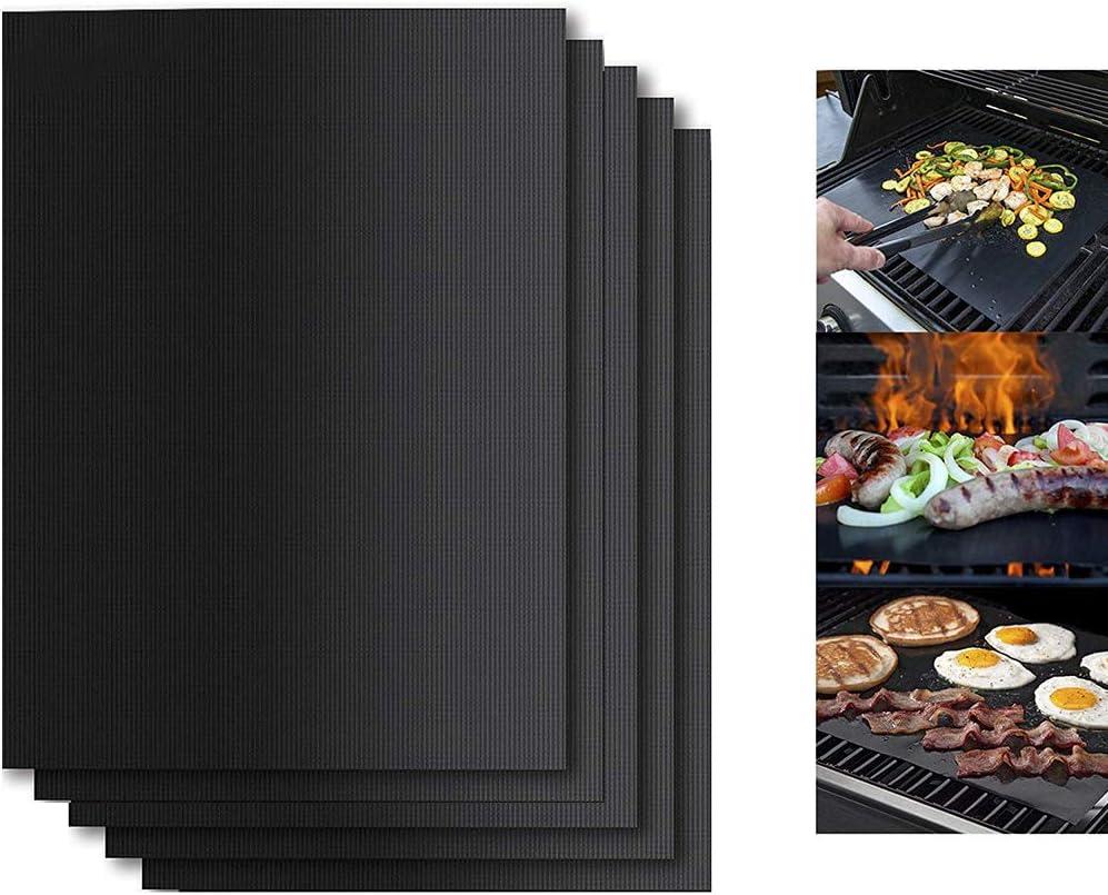 OTENGD Grill BBQ Mat Set 5, tapetes antiadherentes, Resistentes al Calor y sin BPA Reutilizables, compatibles con Parrillas de propano, Gas Natural, carbón y Electricidad, ahumadores y hornos