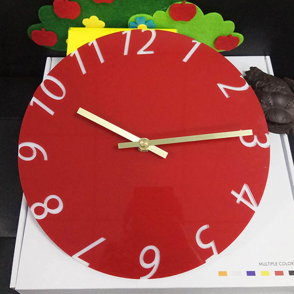 Cocal Modern Fashion Acrylic Removable Wall Clocks DIY Acrylic Decorative Clock, Battery Operated (Red) by Cocal (Image #2)