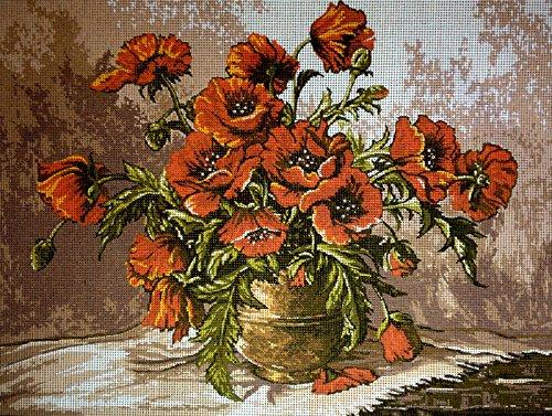 - Hudemas Needlepoint Kit Vase with Poppies 15.7