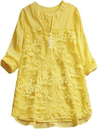 Cinnamou Blusa Mujer Encaje Camisa de Manga Larga Elegante de Lino V-Cuello Blusas: Amazon.es: Ropa y accesorios