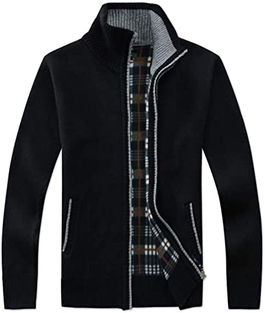 Men Winter Cardigan Sweater Slim Fit Stand Collar Zipper Knit Jacket Coat Outwear