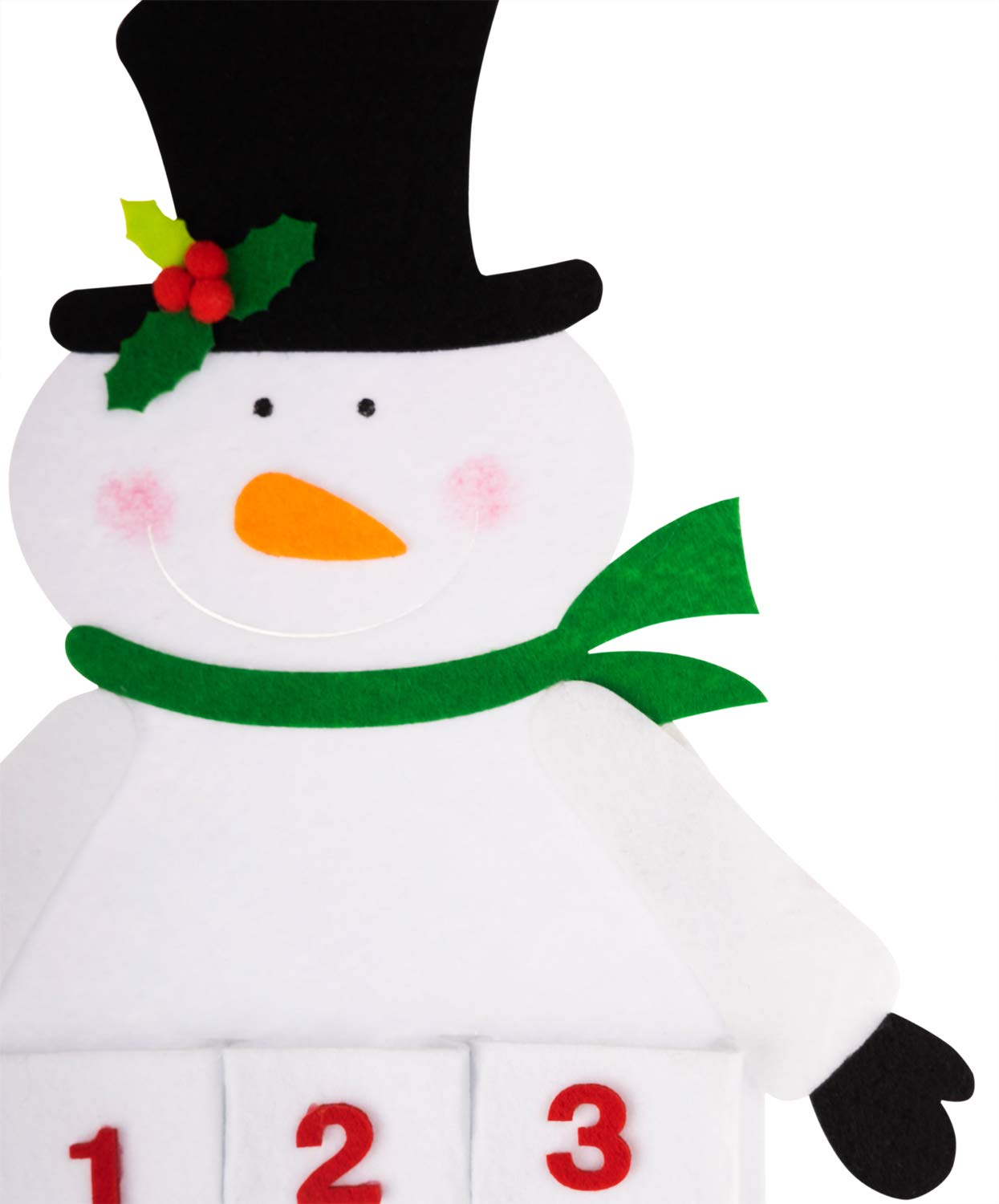 handrong Christmas 24 Day Advent Calendar Snowman Hanging Non-Woven Countdown Pockets Holiday D/écor Ornament for Kids Gifts Home Door Wall Office Decorations 29 Tall White