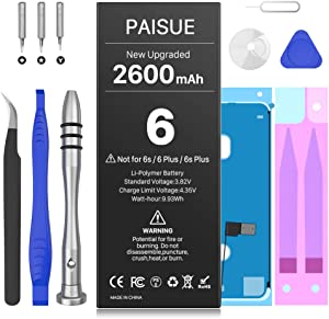 Battery for iPhone 6 (not 6S or 6+), 2600mAh 2021 New 0 Cycle Battery Replacement for iPhone 6, Higher Capacity Battery for iP6 A1549 A1586 A1589 with Complete Repair Tools Kit