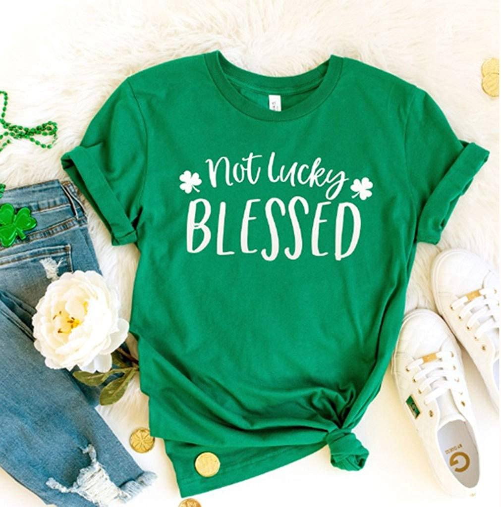 Patricks Day Short Sleeve Tunic Top Blouse Basic Tee Toimothcn Womens Green T Shirts Shamrock Printed St