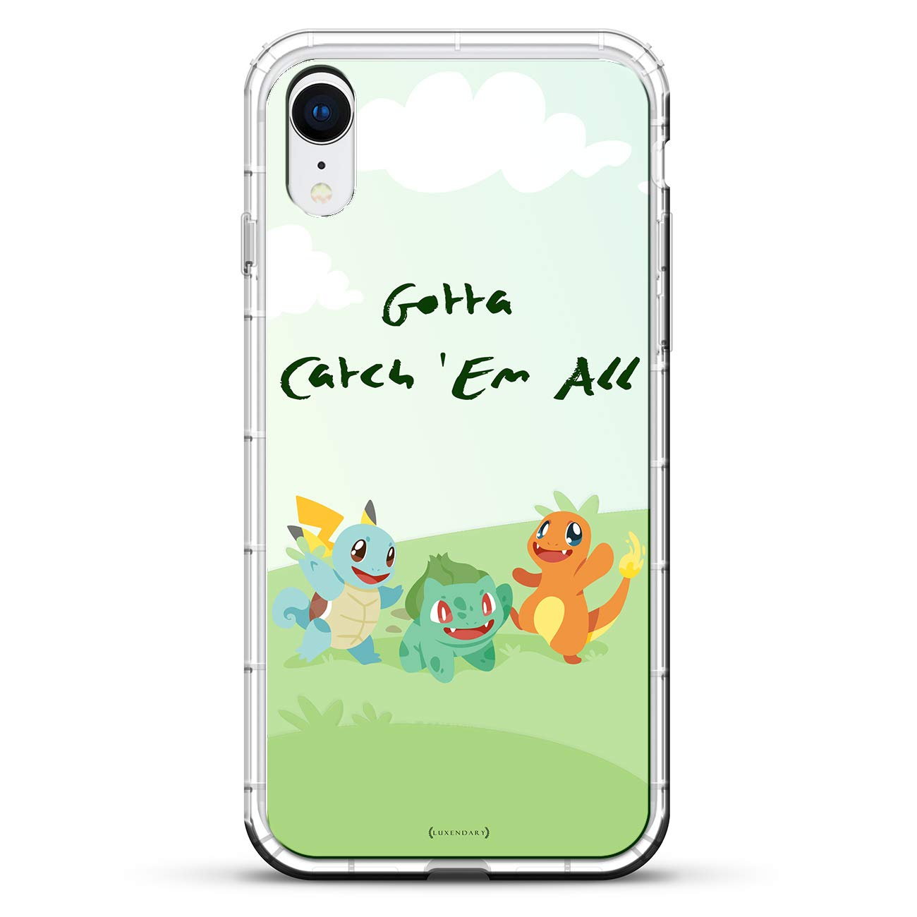 Pokemon Go Catch Em All | Luxendary Air Series Clear Silicone Case with 3D printed design and Air-Pocket Cushion Bumper for iPhone XR (new 2018/2019 model ...