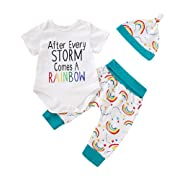 c91ba0e18 OUTGLE Unisex Baby Clothes Newborn Baby Boy Girl Rainbow Onesies + Trousers  Fall Winter Outfits Set