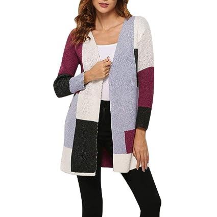 Wave166┃ Rebece de Mujer, Jerséis Moda Patchwork Tops suéteres de ...