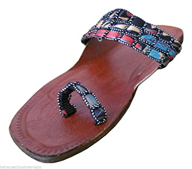 2502458a0b09b4 Kalra Creations Women s Traditional Indian Leather Designer Slippers (UK  2.5 M